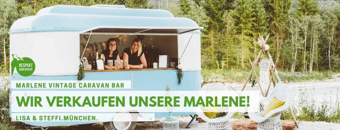 Ja, wir verkaufen Marlene, unsere geliebte Vintage Caravan Bar